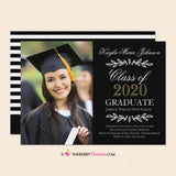 Elegant Script and Leaves - Graduation Invitation or Announcement