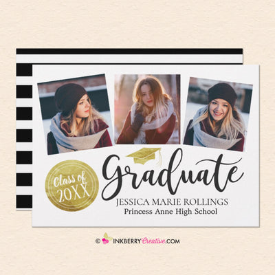Gold Stamp 3 Photo Graduation Invitation or Announcement