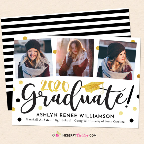 Confetti Script 3 Photo Graduation Invitation or Announcement