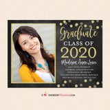 Chalkboard Gold Confetti Graduation Invitation or Announcement
