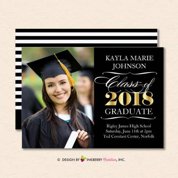 Golden Year Elegant Script - Graduation Invitation or Announcement - inkberrycards
