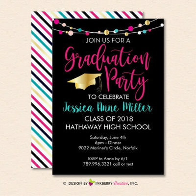 Colorful Lights Graduation Party Invitation (Black) - inkberrycards