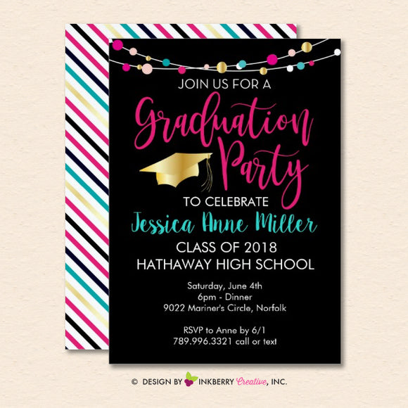 Colorful Lights Graduation Party Invitation (Black)