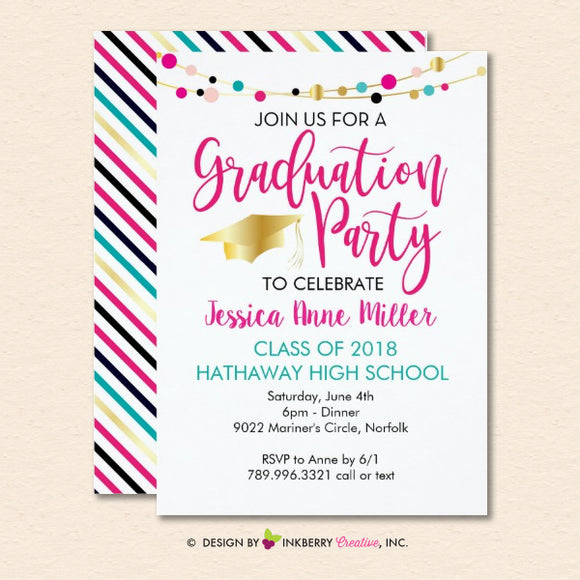 Colorful Lights Graduation Party Invitation (White)