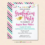 Colorful Lights Graduation Party Invitation (White) - inkberrycards