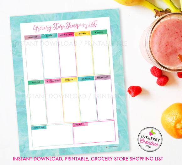 Printable Grocery Store Shopping List, Instant Download, PDF, Meal Planning, Grocery List, Weekly Grocery Store, Aqua Watercolor
