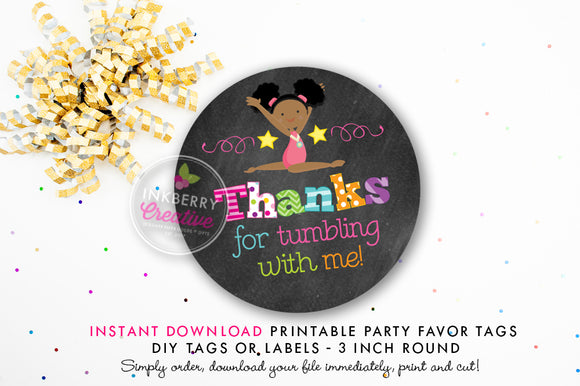 Girls Gymnastics Birthday - Printable 3 inch Birthday Party Favor Tags - Instant Download PDF File