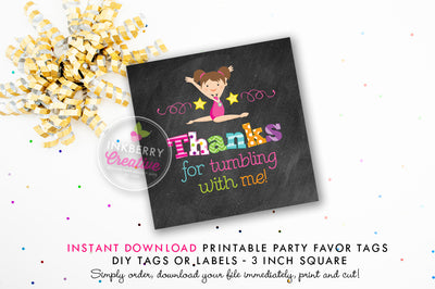 Girls Gymnastics Birthday - Printable 3 inch Birthday Party Favor Tags - Instant Download PDF File - inkberrycards
