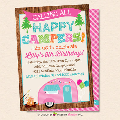 Happy Camper Party Invitation - Girls Camping Birthday Party - Printable, Instant Download, Editable, PDF - inkberrycards