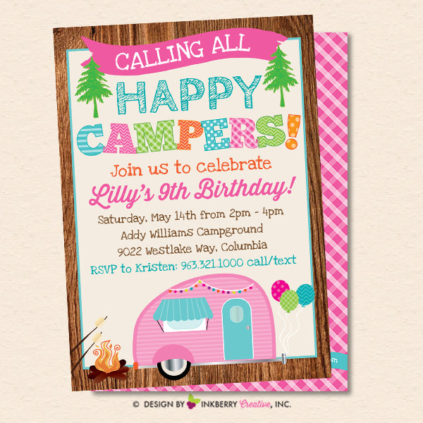 Happy Camper Party Invitation - Girls Camping Birthday Party - Printab – Inkberry Creative, Inc.