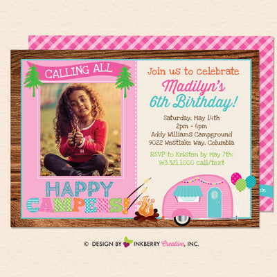 Happy Camper Girls Camping Birthday Party Photo Invitation