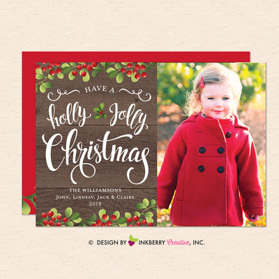 Holly Jolly Christmas Script - Christmas Photo Card - inkberrycards