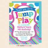 Jump and Play Kids Bounce or Trampoline Birthday Party Invitation (Blue) - Printable, Instant Download, Editable, PDF