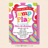 Jump and Play Kids Bounce or Trampoline Birthday Party Invitation - Printable, Instant Download, Editable, PDF - inkberrycards