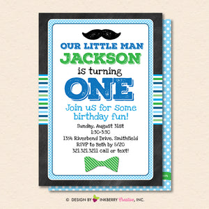 Little Man Mustache Bow Tie First Birthday Party Invitation - Printable, Instant Download, Editable, PDF