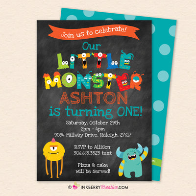 Little Monster Birthday Party Invitation - Printable, Instant Download, Editable, PDF