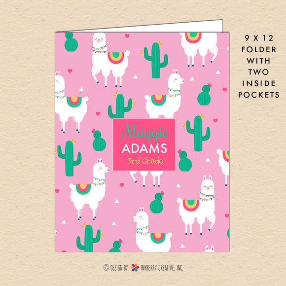 Cactus and Llama Kids Personalized, Custom Pocket Folder - Homework, School, Durable Pocket Folder for Back to School - Cute Llama Hearts - inkberrycards