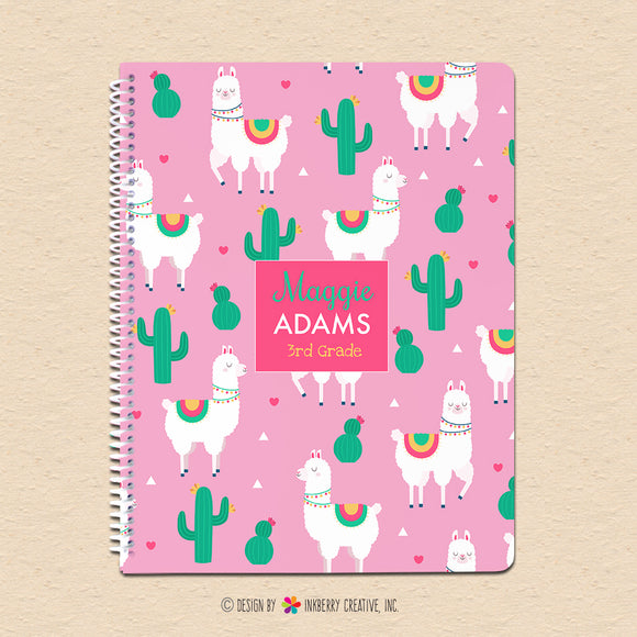 Cactus and Llama Kids Personalized, Custom Notebook - Homework, School, Durable Spiral Notebook for Back to School - Cute Llama Hearts - inkberrycards