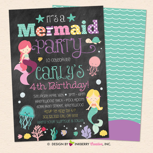 Mermaid Birthday Party Invitation, Chalkboard Style, Under the Sea, Ocean, Beach Theme, Printable, Instant Download, Editable, PDF