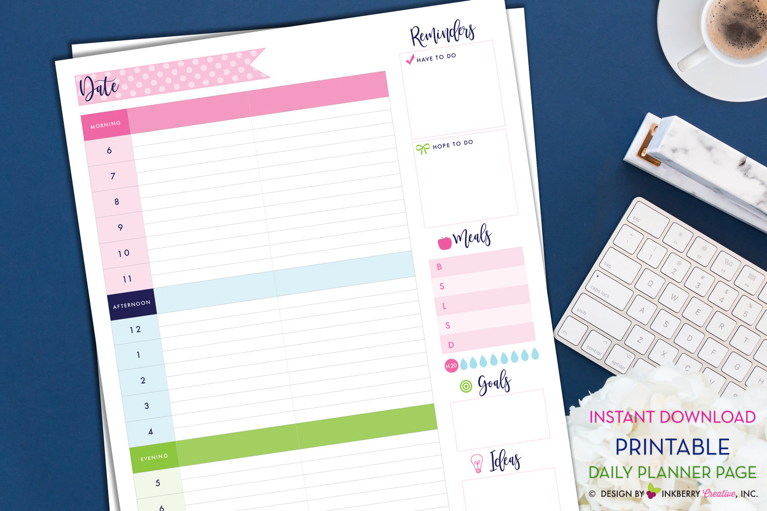 photo regarding Daily Planner Page identify Printable Everyday Planner Website page - Instantaneous Down load, PDF, Day by day Routine, Towards-Do, Supper Planner, H2o Tracker, Aims, Strategies, Todays Application PDF Planner
