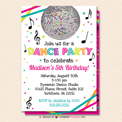Dance Party Invitation (White) - Dance Party Invite - Neon Glow Dance Party Invitation - Disco Ball - Printable, Instant Download, Editable, PDF - inkberrycards