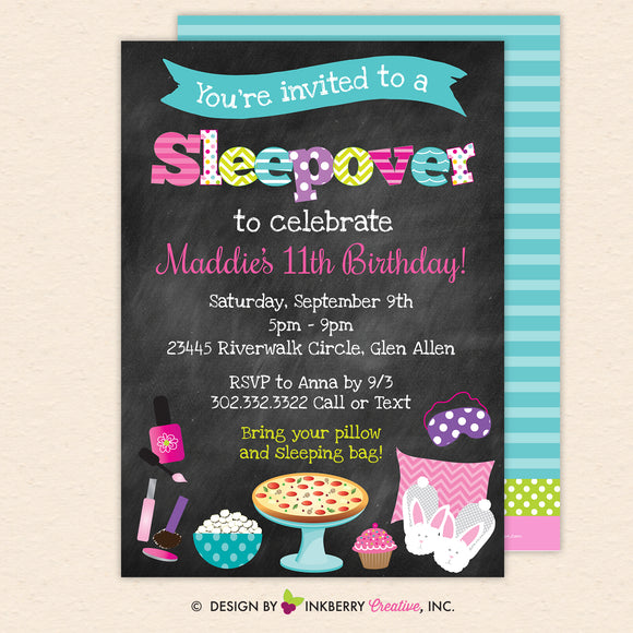 Sleepover Slumber Birthday Party Invitation (Chalkboard Style) - Kids Pizza Pajama Slumber Sleepover Birthday Party Invite - Printable, Instant Download, Editable, PDF