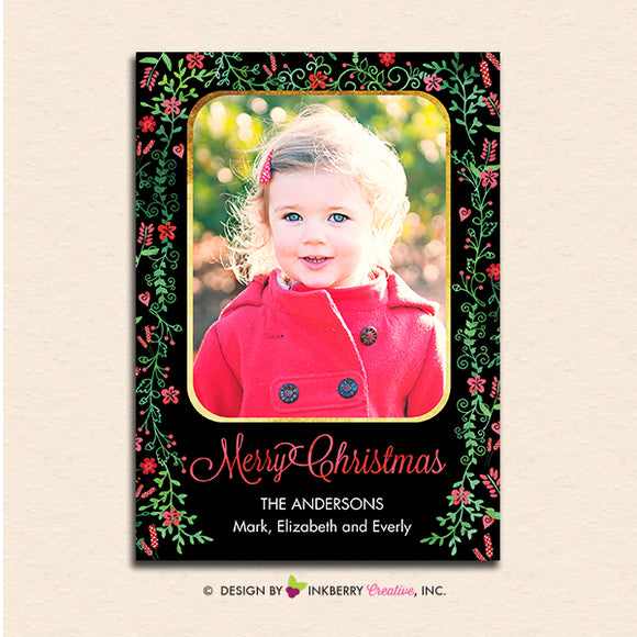 Ornate Floral Gold Frame Christmas Photo Card - inkberrycards