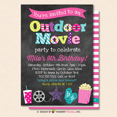 Outdoor Movie Party Invitation - Backyard, Outdoor, Birthday, Girls Movie Party - Printable, Instant Download, Editable, PDF - inkberrycards