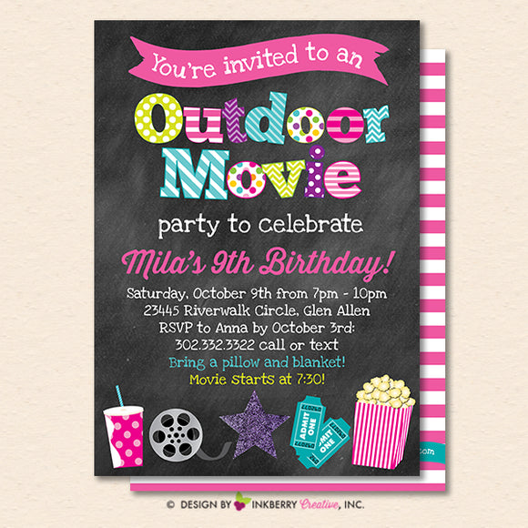 Outdoor Movie Party Invitation - Backyard, Outdoor, Birthday, Girls Movie Party - Printable, Instant Download, Editable, PDF