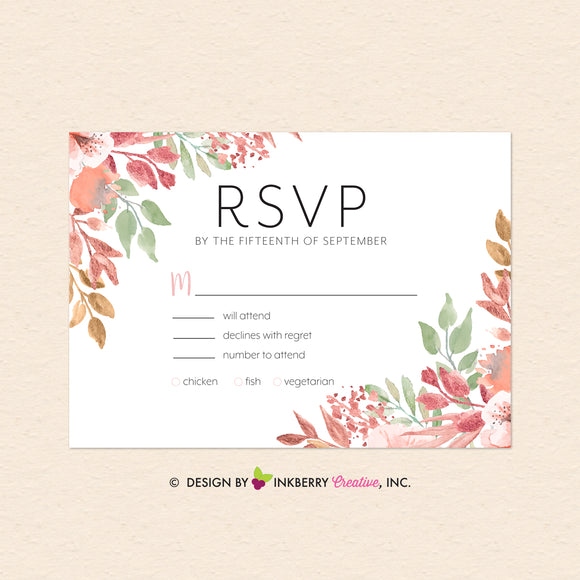 Beautiful Blooms - Watercolor Painted Floral Printable Wedding RSVP Card - Custom Design, Printable File, We Personalize, Edit - You Print - inkberrycards