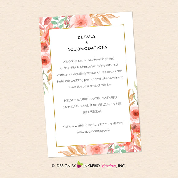 Beautiful Blooms - Watercolor Painted Floral Printable Wedding Invitation Insert Card - Custom Design, Printable File, We Personalize, Edit - You Print - inkberrycards