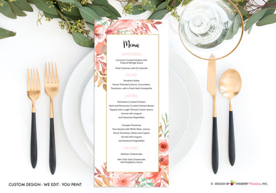 Beautiful Blooms - Watercolor Painted Floral Printable Menu Card - Custom Design, Printable File, We Personalize, Edit - You Print - inkberrycards