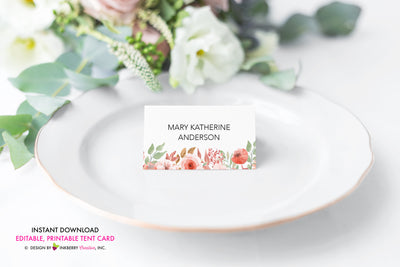 Beautiful Blooms - Watercolor Painted Floral Printable Place Card, Food Tent Card - Instant Download, Editable PDF - Edit with Adobe Reader - inkberrycards