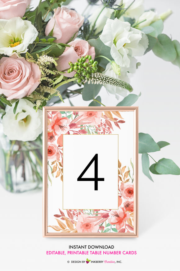 Beautiful Blooms - Watercolor Painted Floral Printable Wedding Table Number Cards - Instant Download, Editable PDF - Edit with Adobe Reader - inkberrycards
