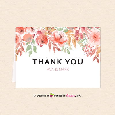 photograph regarding Printable Thank You Note referred to as Appealing Blooms - Watercolor Painted Floral Printable Thank