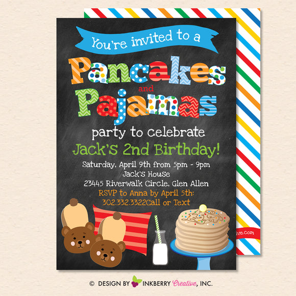 Pancakes and Pajamas Party Invitation - Boys - (Chalkboard Style) - Boys Pancakes Pajama Birthday Party Invite - Printable, Instant Download, Editable, PDF