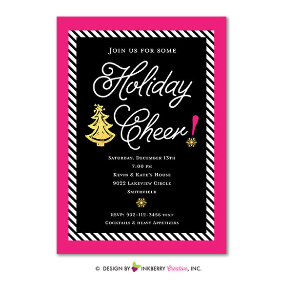 Glam Holiday Cheer Christmas Party Invitation (Pink, Black and Gold) - inkberrycards