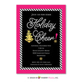 Glam Holiday Cheer Christmas Party Invitation (Pink, Black and Gold)