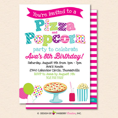 Pizza and Popcorn Party Invitation (White) - Kids Pizza Popcorn Birthday Party Invite - Printable, Instant Download, Editable, PDF - inkberrycards