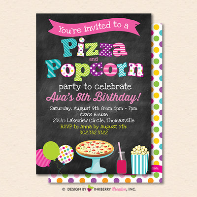 Pizza and Popcorn Party Invitation (Chalkboard Style) - Kids Pizza Popcorn Birthday Party Invite - Printable, Instant Download, Editable, PDF