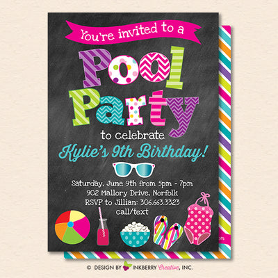 Pool Party Invitation - Summer, Birthday, Pool Party - Printable, Instant Download, Editable PDF - inkberrycards