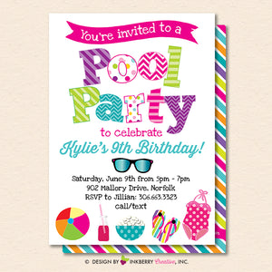 Pool Party Invitation - Summer, Birthday, Pool Party - Printable, Instant Download, Editable, PDF