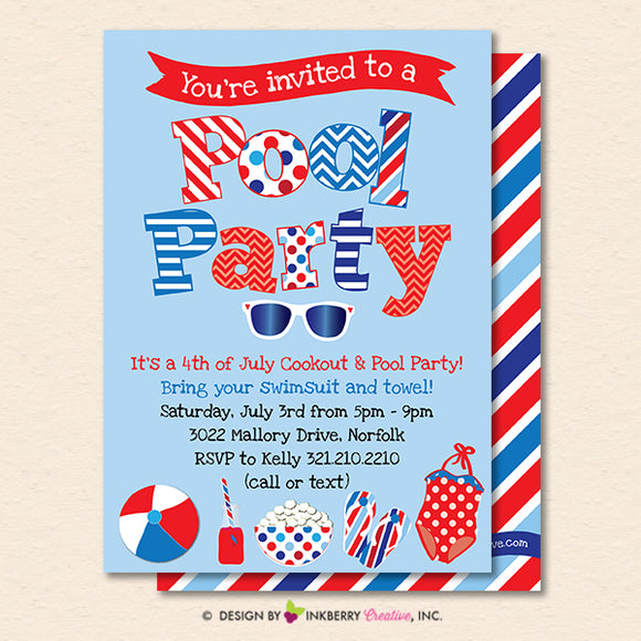 Patriotic Pool Party Invitation - Summer, Patriotic, 4th of July, Memorial Day, Pool Party - Printable, Instant Download, Editable, PDF