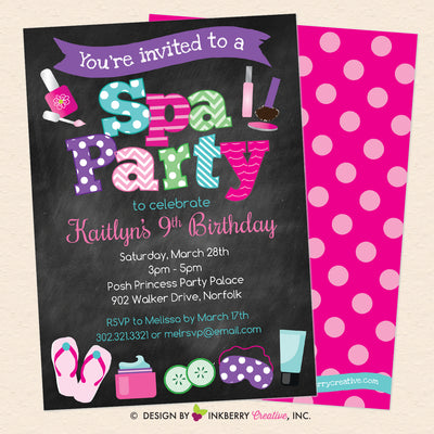 Spa Birthday Party Invitation - Chalkboard Style - Printable, Instant Download, Editable, PDF - inkberrycards