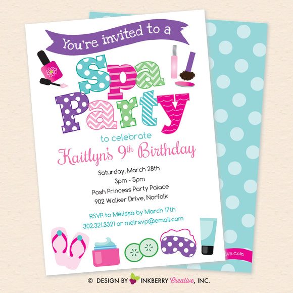 Spa Birthday Party Invitation - Printable, Instant Download, Editable, PDF - inkberrycards