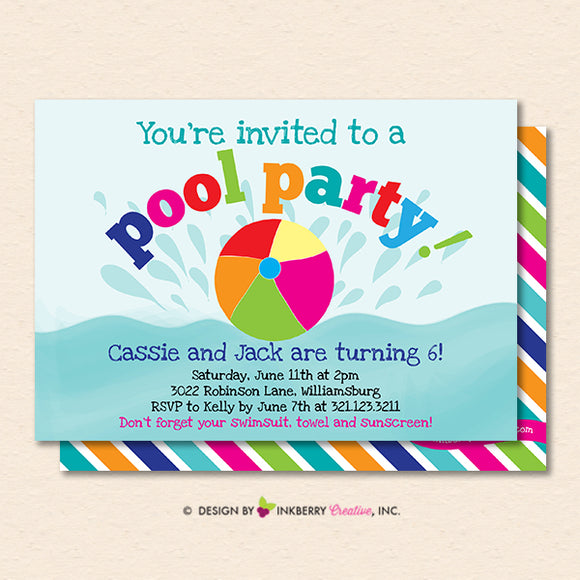 Splashing Pool Party Invitation - Summer, Birthday, Pool Party - Printable, Instant Download, Editable, PDF - inkberrycards