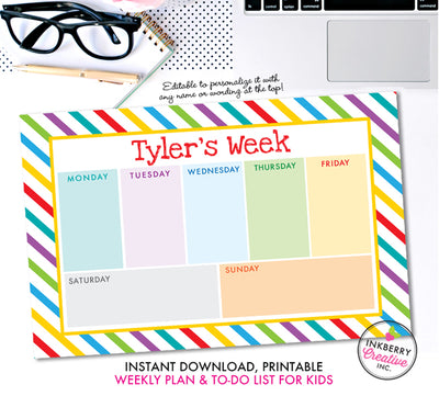Printable Kids Weekly Planner and To Do List - Instant Download, PDF, Printable Daily Weekly Planner for Kids - Homework, School, Chores - inkberrycards