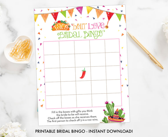 Taco Bout Love Bridal Shower Bingo - Printable Shower Game