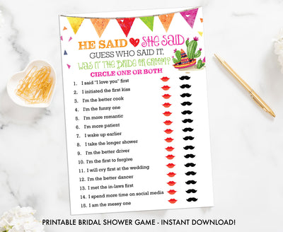 Taco Bout Love Bridal Shower - He Said She Said - Printable Shower Game