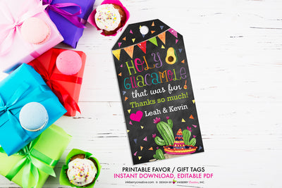Taco Bout Love Bridal Shower - Holy Guacamole Favor Gift Tag - Chalkboard Style - Printable, Editable